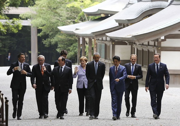 ISE, JAPAN - MAY 26: (From L) Italian Prime Minister Matteo Renzi, European Commission President Jean-Claude Juncker, French President Francois Hollande, Canadian Prime Minister Justin Trudeau, German Chancellor Angela Merkel, US President Barack Obama, Japanese Prime Minister Shinzo Abe, European Council President Donald Tusk and British Prime Minister David Cameron walk past the Kaguraden as they visit Ise-Jingu Shrine during the first day of the G7 leaders summit in the city of Ise in Mie prefecture, Japan on May 26, 2016. (Photo by Ministry of Foreign Affairs of Japan / Handout/Anadolu Agency/Getty Images)