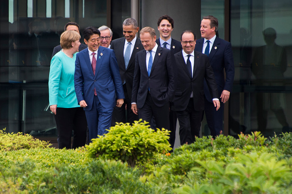 (From L) German Chancellor Angela Merkel, Italian Prime Minister Matteo Renzi, Japanese Prime Minister Shinzo Abe, European Commission President Jean-Claude Juncker, US President Barack Obama, European Council President Donald Tusk, Canadian Prime Minister Justin Trudeau, French President Francois Hollande and British Prime Minister David Cameron walk out to the family photo event during the first day of the Group of Seven (G7) summit meetings in Ise on May 26, 2016. World leaders kick off two days of G7 talks in Japan on May 26 with the creaky global economy, terrorism, refugees, China's controversial maritime claims, and a possible Brexit headlining their packed agenda. / AFP / AFP POOL / JIM WATSON (Photo credit should read JIM WATSON/AFP/Getty Images)