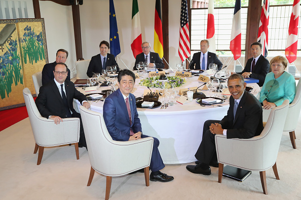 In this handout image provide by Foreign Ministry of Japan, <> on May 26, 2016 in Kashikojima, Japan. In the two-day summit, the G7 leaders are scheduled to discuss the pressing global issues including counter-terrorism, energy policy, and sustainable development. (Photo by Foreign Ministry of Japan via Getty Images)