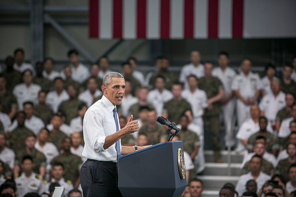 IWAKUNI, JAPAN - MAY 27: U.S. President Barack Obama gives a speech to the U.S. and Japanese servicemen and their families at the Marine Corps Air Station Iwakuni (MCAS Iwakuni) on May 27, 2016 in Iwakuni, Japan. President Barack Obama flew in to the MCAS Iwakuni on Air Force One, and visited the troops before visiting Hiroshima. (Photo by Jean Chung/Getty Images)