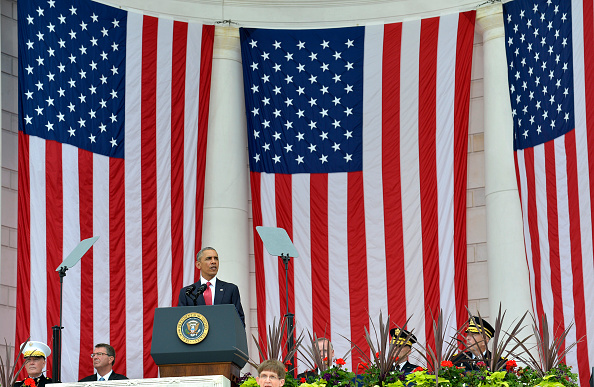 U.S.President Barack Obama makes remarks at the Amphitheater after laying a wreath at the Tomb of the Unknown Soldier at Arlington National Cemetery, Arlington, Virginia, on Memorial Day, May 30, 2016, near Washington, DC. Obama paid tribute to the nation's military service members who have fallen. Photo by Mike Theiler/UPI