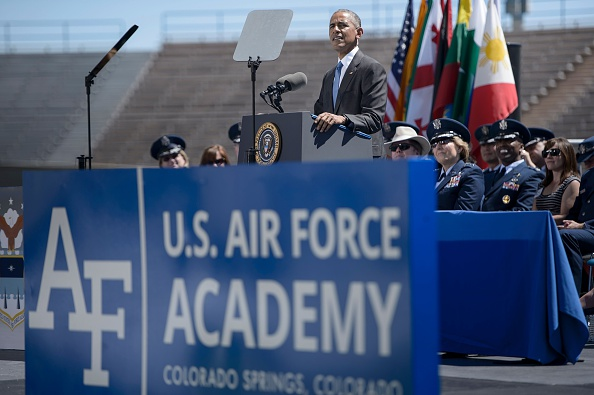 US President Barack Obama speaks during a graduation ceremony at the US Air Force Academy's Falcon Stadium June 2, 2016 in Colorado Springs, Colorado. / AFP / Brendan Smialowski (Photo credit should read BRENDAN SMIALOWSKI/AFP/Getty Images)