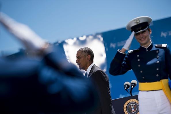 US President Barack Obama congratulates cadets during a graduation ceremony at the US Air Force Academy's Falcon Stadium June 2, 2016 in Colorado Springs, Colorado. / AFP / Brendan Smialowski (Photo credit should read BRENDAN SMIALOWSKI/AFP/Getty Images)