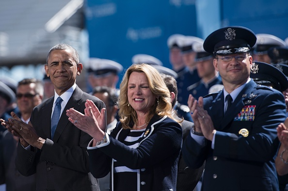 US President Barack Obama(L) watches as cadets arrive during a graduation ceremony at the US Air Force Academy's Falcon Stadium June 2, 2016 in Colorado Springs, Colorado. / AFP / Brendan Smialowski (Photo credit should read BRENDAN SMIALOWSKI/AFP/Getty Images)