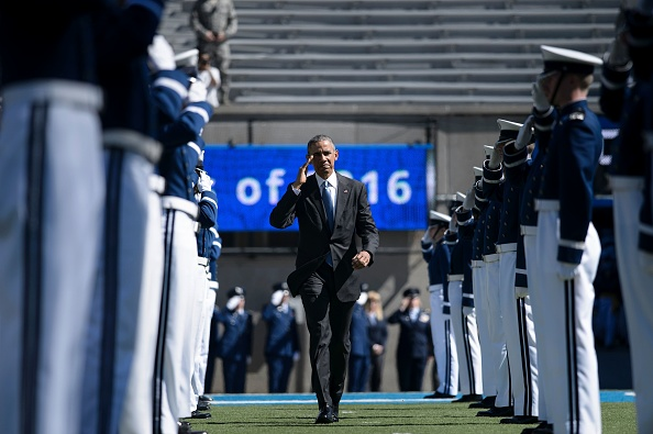 US President Barack Obama arrives for a graduation ceremony at the US Air Force Academy's Falcon Stadium June 2, 2016 in Colorado Springs, Colorado. / AFP / Brendan Smialowski (Photo credit should read BRENDAN SMIALOWSKI/AFP/Getty Images)