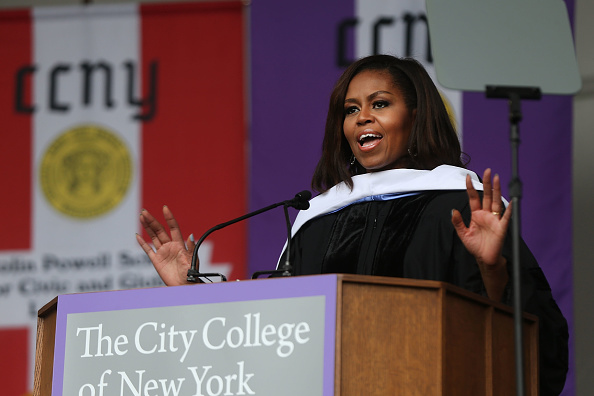 NEW YORK, NY - JUNE 03: First lady Michelle Obama delivers the commencement speech after being presented with an honorary doctorate of humane letters at City College on June 3, 2016 in New York City. This is the final commencement speech of her tenure as first lady. In her speech Mrs. Obama celebrated City College's diverse student body and the struggles that many students endured on the road to graduation. (Photo by Spencer Platt/Getty Images)