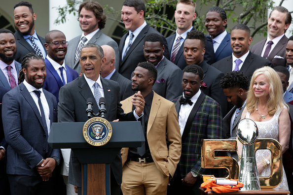US President Barack Obama honors the 50th Super Bowl Champion Denver Broncos in the Rose Garden of the White House in Washington on June 6, 2016. / AFP / YURI GRIPAS (Photo credit should read YURI GRIPAS/AFP/Getty Images)