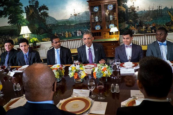 WASHINGTON, DC - JUNE 9: (AFP OUT) U.S. President Barack Obama speaks to the media during a lunch with young men from the Washington, DC area at the White House on June 9, 2016 in Washington, DC. The men are participating in the White House Mentorship and Leadership Program. (Photo by Pete Marovich-Pool/Getty Images)