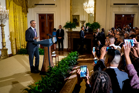 WASHINGTON, DC - JUNE 09: President Barack Obama speaks at a reception in the East Room of the White House in recognition of LGBT Pride Month on June 9, 2016 in Washington, D.C. (Photo by Pete Marovich-Pool/Getty Images)
