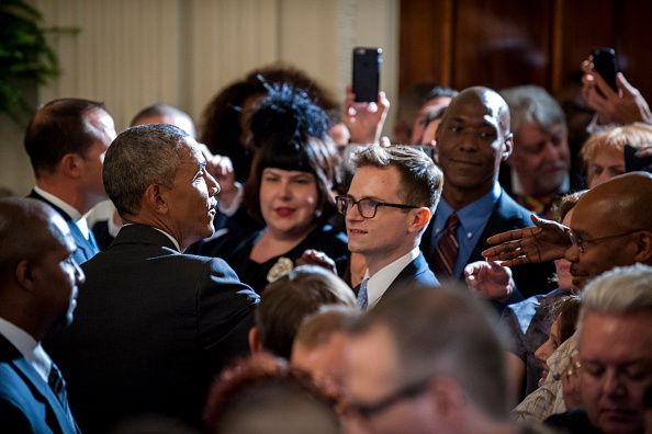 WASHINGTON, DC - JUNE 09: (AFP OUT) President Barack Obama chats with guests after speaking at a reception in the East Room of the White House in recognition of LGBT Pride Month on June 9, 2016 in Washington, D.C. (Photo by Pete Marovich-Pool/Getty Images)