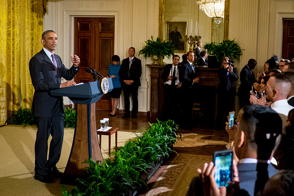 President Barack Obama delivers remarks at a reception in the East Room of the White House in recognition of LGBT Pride Month on June 9, 2016 in Washington, D.C. Photo by Pete Marovich/UPI/POOL