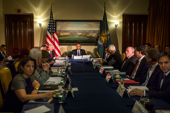 WASHINGTON, DC - JUNE 14: (AFP-OUT) President Barack Obama, along with Vice President Joe Biden, meets with his National Security Council, including FBI Director James Comey, Homeland Security Secretary Jeh Johnson and National Counterterrorism Center Director Nick Rasmussen, at the Treasury Department June 14, 2016 in Washington, DC. President Obama received a briefing on the mass shooting at the Pulse nightclub in Orlando, Florida. The White House announced that Obama will visit Orlando on June 16. (Photo by Jim Lo Scalzo-Pool/Getty Images)