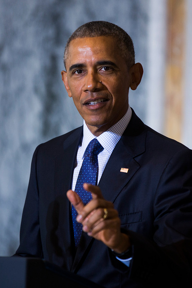 WASHINGTON, DC - JUNE 14: (AFP-OUT) US President Barack Obama speaks on the Orlando shooting at the Treasury Department after convening with his National Security Council on June 14, 2016 in Washington, DC. Obama directly attacked Donald Trump's proposal to ban Muslims from entering the United States. (Photo by Jim Lo Scalzo-Pool/Getty Images)