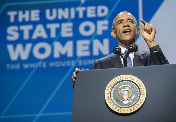 "US President bBarack Obama speaks at the White House Summit on the ""United State of Women"" in Washington on June 14, 2016. / AFP / SAUL LOEB (Photo credit should read SAUL LOEB/AFP/Getty Images)"