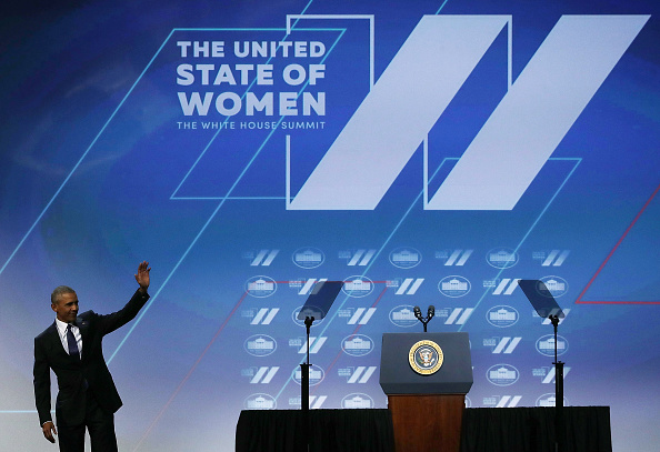 WASHINGTON, DC - JUNE 14: U.S. President Barack Obama waves after he spoke during the White House Summit on the United State Of Women June 14, 2016 in Washington, DC. The White House hosts the first ever summit to push for gender equality. (Photo by Alex Wong/Getty Images)