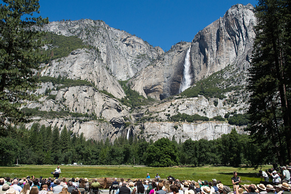 YOSEMITE NTL PARK, CA - JUNE 18: President Barack Obama speaks in front of Cook's Meadow and Yosemite Falls on June 18, 2016 in Yosemite National Park, California. Obama is marking the centennial of the National Park Service which began on August 25, 1916. (Photo by David Calvert/Getty Images)