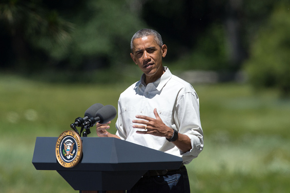 YOSEMITE NTL PARK, CA - JUNE 18: President Barack Obama speaks in front of Cook's Meadow on June 18, 2016 in Yosemite National Park, California. Obama is marking the centennial of the National Park Service which began on August 25, 1916. (Photo by David Calvert/Getty Images)
