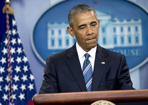 """US President Barack Obama speaks about the Supreme Court rulings on affirmative action and immigration in the Brady Press Briefing Room at the White House in Washington, DC, June 23, 2016. Obama on Thursday condemned the Supreme Court's ruling blocking his bid to change immigration policy as """"heartbreaking"""" and urged Americans not to fear the millions of people who want to make their lives in the United States. / AFP / SAUL LOEB (Photo credit should read SAUL LOEB/AFP/Getty Images)"""