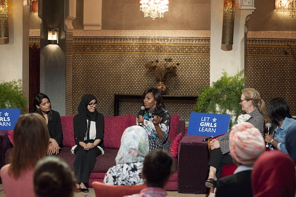 MARRAKECH, MOROCCO - JUNE 28: The US President Barrack Obama' s wife Michelle Obama (3rd L), Hindu actress Freida Pinto (L), American actress Meryl Streep (R) and Moroccan student Karima Lokos (2nd L) attend a program held for girls whose education is interrupted in Marrakech, Morocco on June 28, 2016. (Photo by Jalal Morchidi/Anadolu Agency/Getty Images)