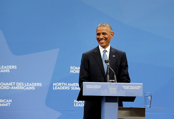 "U.S. President Barack Obama smiles during a joint news conference with Enrique Pena Nieto, Mexico's president, not pictured, and Justin Trudeau, Canada's prime minister, not pictured, at the National Gallery of Canada during the North American Leaders Summit (NALS) in Ottawa, Ontario, Canada, on Wednesday, June 29, 2016. Leaders from the three Nafta nations ""agree on the need for governments of all major steel-producing countries to make strong and immediate commitments to address the problem of global excess steelmaking capacity,"" according to a statement from Trudeau. Photographer: Cole Burston/Bloomberg via Getty Images"