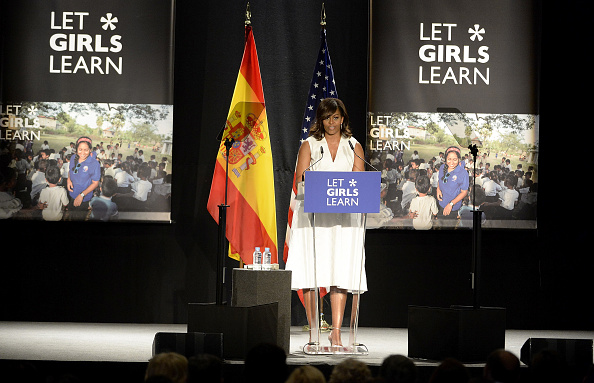 MADRID, SPAIN - JUNE 30: US First Lady Michelle Obama attends the 'Let Girls Learn' conference at Matadero de Madrid on June 30, 2016 in Madrid, Spain. (Photo by Fotonoticias/WireImage)