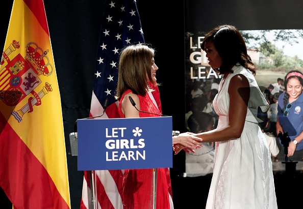 "MADRID, SPAIN - JUNE 30: The US President Barrack Obama' s wife Michelle Obama (R) and Queen Letizia (L) of Spain make presentation of a project named ""Let Girls Learn"" at Matadero Education Center in Madrid, Spain on June 30, 2016. (Photo by Burak Akbulut/Anadolu Agency/Getty Images)"