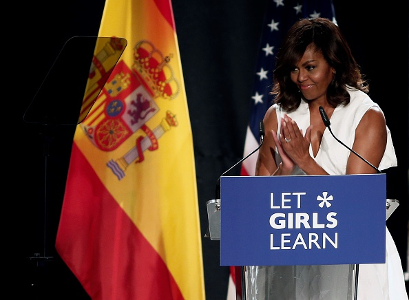 "MADRID, SPAIN - JUNE 30: The US President Barrack Obama' s wife Michelle Obama makes presentation of a project named ""Let Girls Learn"" at Matadero Education Center in Madrid, Spain on June 30, 2016. (Photo by Burak Akbulut/Anadolu Agency/Getty Images)"
