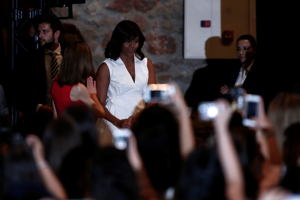 """MADRID, SPAIN - JUNE 30: The US President Barrack Obama' s wife Michelle Obama makes presentation of a project named """"Let Girls Learn"""" at Matadero Education Center in Madrid, Spain on June 30, 2016. (Photo by Burak Akbulut/Anadolu Agency/Getty Images)"""