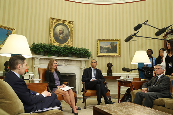 WASHINGTON, DC - JULY 01: U.S. President Barack Obama speaks about the Zika virus during a meeting with health officials in the Oval Office at the White House, July 1, 2016 in Washington, DC. President Obama urged Congress to pass a Zika virus funding bill before going on break. Also pictured are, Secretary of Health and Human Services Sylvia Mathews Burwell, (2-L), Director of NIH/NIAID Dr. Anthony Fauci, (R), Director of the Centers for Disease Control and Prevention Dr. Tom Frieden. (L). (Photo by Mark Wilson/Getty Images)