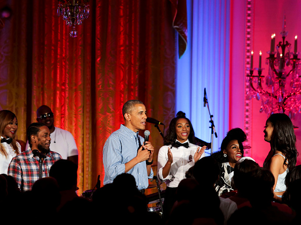 "WASHINGTON, DC - JULY 4: President Barack Obama sings ""Happy Birthday"" to his daughter Malia Obama at the Fourth of July White House party on July 4, 2016 in Washington, DC. Maila Obama celebrated her 18th birthday during the party, which featured guests including singers Janelle Monae and Kendrick Lamar. (Photo by Aude Guerrucci-Pool/Getty Images)"