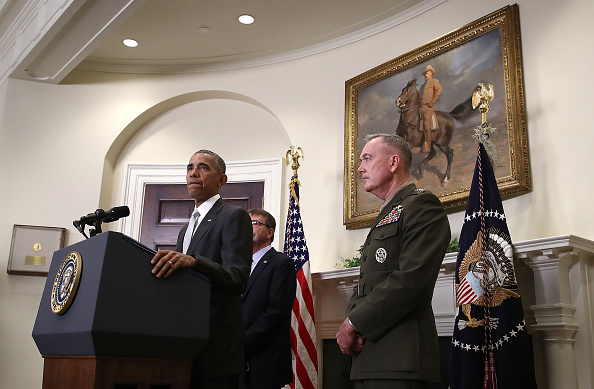 WASHINGTON, DC - JULY 06: U.S. President Barack Obama, flanked by Secretary of Defense Ashton Carter and Chairman of the Joint Chiefs of Staff Gen. Joseph Dunford (R), delivers a statement from the Roosevelt Room at the White House on the deployment of U.S. troops in Afghanistan July 6, 2016 in Washington, DC. Obama said more U.S. troops will remain in Afghanistan than he originally planned, leaving 8,400 U.S. troops rather than the intended 5,000. (Photo by Win McNamee/Getty Images)