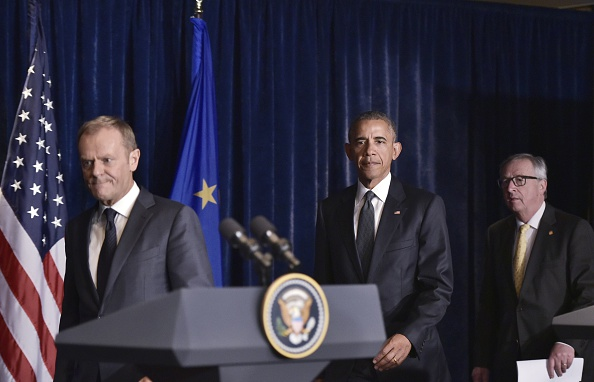 (From L to R) European Council President Donald Tusk, US President Barack Obama and European Commission President Jean-Claude Juncker arrive at a press conference for the joint press statements followig a meeting on the sidelines of the NATO Summit at a hotel in Warsaw on July 8, 2016. The Polish capital hosts a two-day NATO summit, first time that it hosts a top-level meeting of the Western military alliance since it joined in 1999. / AFP / Mandel Ngan (Photo credit should read MANDEL NGAN/AFP/Getty Images)