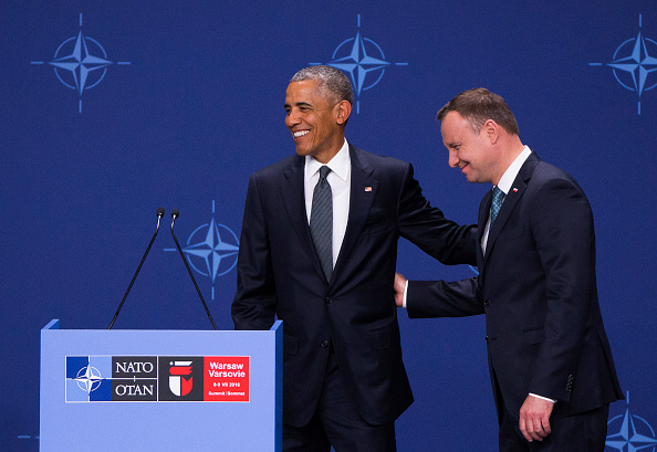 President of United States Barack Obama and Polish President Andrzej Duda at the media statements after meeting on NATO Summit in Warsaw, 08 June, 2016, Poland (Photo by Krystian Dobuszynski/NurPhoto via Getty Images)