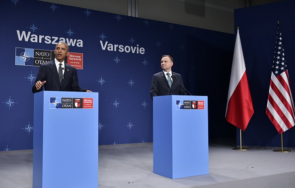 US President Barack Obama (L) and Poland's President Andrzej Duda (R) attend a press conference following a bilateral meeting on the sidelines of the NATO Summit in Warsaw, Poland, on July 8, 2016. The Polish capital Warsaw hosts a two-day top-level NATO meeting, first time since Poland joined the alliance in 1999. / AFP / MANDEL NGAN (Photo credit should read MANDEL NGAN/AFP/Getty Images)