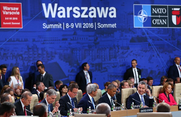 WARSAW, POLAND - JULY 8: British Foreign Secretary Philip Hammond (2nd L), President of Turkey Recep Tayyip Erdogan (L), British Pirme Minister David Cameron (3rd L) US Secretary of State John Kerry and US President Barack Obama ( 3rd R) attend the NATO Summit in Warsaw, Poland on July 8, 2016. (Photo by Kayhan Ozer/Anadolu Agency/Getty Images)