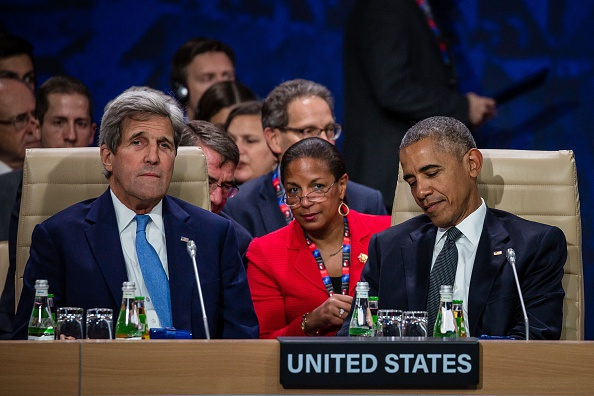 US President Barack Obama (R), US Secretary of State John Kerry (L) and White House National Security Advisor Susan Rice (C) are seen before the meeting of heads of state of the North Atlantic Council (NAC) taking place during a NATO summit on July 8, 2016 in Warsaw, Poland. The Polish capital Warsaw hosts a two-day top-level NATO meeting, for the first time since Poland joined the alliance in 1999. / AFP / WOJTEK RADWANSKI (Photo credit should read WOJTEK RADWANSKI/AFP/Getty Images)