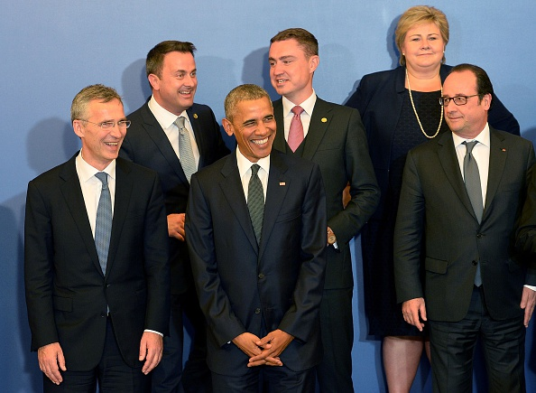 (Front row, L-R) NATO Secretary General Jens Stoltenberg, US President Barack Obama, and France's President Francois Hollande smile as they pose for a family photo ahead of a working dinner at the Presidential Palace during the NATO Summit in Warsaw on July 8, 2016. The Polish capital Warsaw hosts a two-day top-level NATO meeting, first time since Poland joined the alliance in 1999. / AFP / JANEK SKARZYNSKI (Photo credit should read JANEK SKARZYNSKI/AFP/Getty Images)