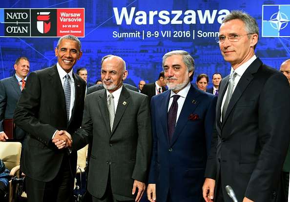 (LtoR) US President Barack Obama, his Afghan counterpart Ashraf Ghani, Afghan Chief Executive Abdullah Abdullah and NATO Secretary General Jens Stoltenberg pose for press during a NATO Summit session on Afghanistan in Warsaw, Poland on July 9, 2016. The Polish capital hosts a two-day NATO summit, the first time ever that it hosts a top-level meeting of the Western military alliance which it joined in 1999. / AFP / JANEK SKARZYNSKI (Photo credit should read JANEK SKARZYNSKI/AFP/Getty Images)