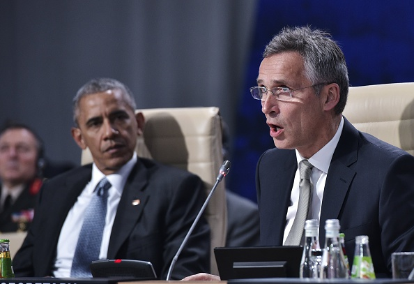 NATO Secretary General Jens Stoltenberg (R) and US President Barack Obama take part in a working session on Afghanistan during the NATO Summit at the Polish National Stadium in Warsaw on July 9, 2016. The Polish capital Warsaw hosts a two-day top-level NATO meeting for the first time since Poland joined the alliance in 1999. / AFP / MANDEL NGAN (Photo credit should read MANDEL NGAN/AFP/Getty Images)