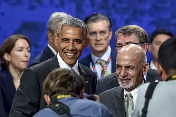WARSAW, POLAND - JULY 9, 2016: US President Barack Obama and Afghanistan's President Ashraf Ghani (L-R front) attend a NATO summit. Mykola Lazarenko/Press Office of the President of Ukraine/TASS (Photo by Mykola LazarenkoTASS via Getty Images)