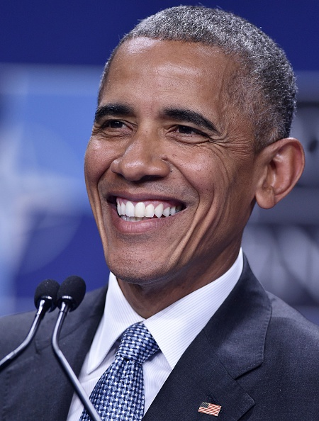 US President Barack Obama smiles during a press conference during the NATO Summit at the Polish National Stadium in Warsaw on July 9, 2016. The Polish capital hosts a two-day NATO summit, the first time ever that it hosts a top-level meeting of the Western military alliance which it joined in 1999. / AFP / MANDEL NGAN (Photo credit should read MANDEL NGAN/AFP/Getty Images)