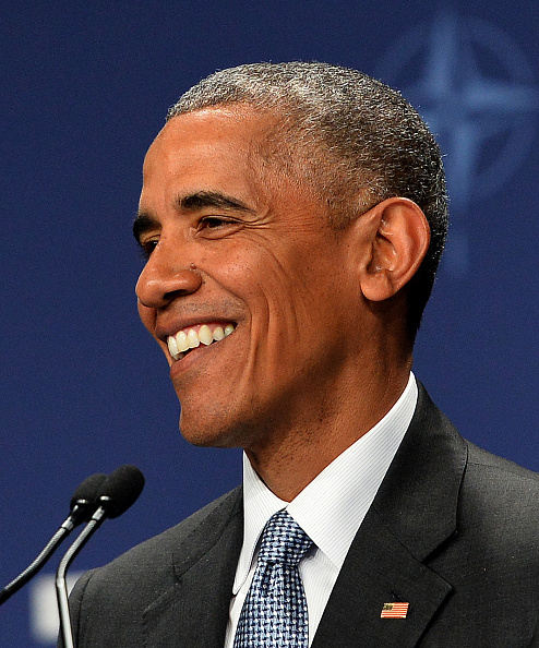 US President Barack Obama smiles during a press conference during the NATO Summit at the Polish National Stadium in Warsaw on July 9, 2016. The Polish capital hosts a two-day NATO summit, the first time ever that it hosts a top-level meeting of the Western military alliance which it joined in 1999. / AFP / JANEK SKARZYNSKI (Photo credit should read JANEK SKARZYNSKI/AFP/Getty Images)