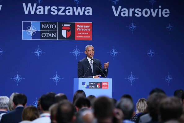 WARSAW, POLAND - JULY 09: U.S. President Barack Obama holds a press conference after the NATO Summit at the National Stadium in Warsaw, Poland on July 09, 2016. (Photo by Dursun Aydemir/Anadolu Agency/Getty Images)