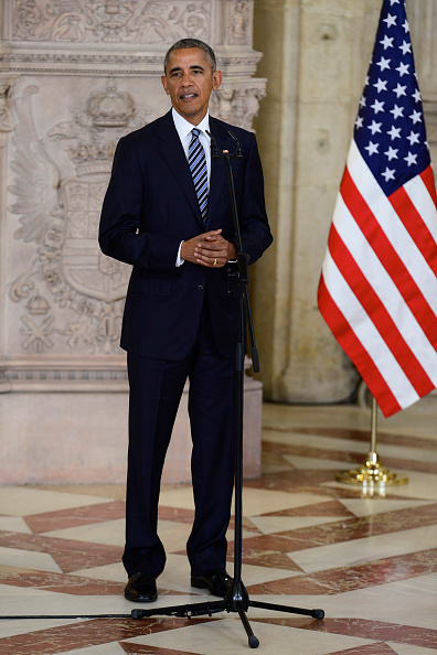 MADRID, SPAIN - JULY 10: US President Barack Obama give a speech at The Royal Palace on July 10, 2016 in Madrid, Spain. President Obama arrived yesterday from the NATO summit in Warsaw and has reportedly had to shorten his first official visit to Spain after the Dallas shootings which killed five policemen on Thursday. (Photo by Borja B. Hojas - Pool/Getty Images)