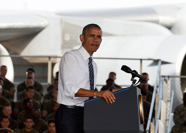 MADRID, SPAIN - JULY 10: U.S. President Barack Obama speaks as he visits Rota naval base on July 10, 2016 in Rota, Spain. President Obama arrived yesterday from the NATO summit in Warsaw and has reportedly had to shorten his first official visit to Spain after the Dallas shootings which killed five policemen. (Photo by Niccolo Guasti/Getty Images)