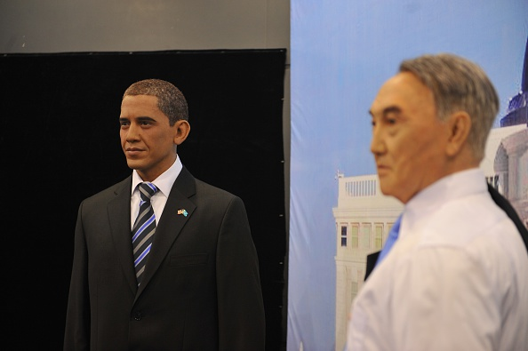 ASTANA, KAZAKHSTAN - JULY 14: Waxworks of US President Barack Obama and President of Kazakhstan Nursultan Nazarbayev are seen during the Waxwork exhibition in Astana, Kazakhstan on July 14, 2016. (Photo by Aliia Raimbekova/Anadolu Agency/Getty Images)