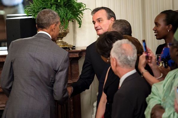 "US President Barack Obama (L) and French Ambassador to the United States Gerard Araud shake hands during reception for the diplomatic corps in the East Room of the White House July 15, 2016 in Washington, DC. Obama spoke to the diplomatic corp calling the deadly truck attack in Nice as a ""tragic and appalling"" on freedom and pledged firm US support for France. / AFP / Brendan Smialowski (Photo credit should read BRENDAN SMIALOWSKI/AFP/Getty Images)"