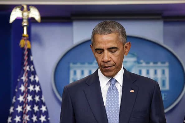 "US President Barack Obama makes a statement at the White House in Washington about police officers deadly shooting in Baton Rouge on July 17, 2016. Obama condemned as ""cowardly"" a shooting that killed three police officers and wounded three more in the Louisiana capital of Baton Rouge on Sunday. / AFP / YURI GRIPAS (Photo credit should read YURI GRIPAS/AFP/Getty Images)"