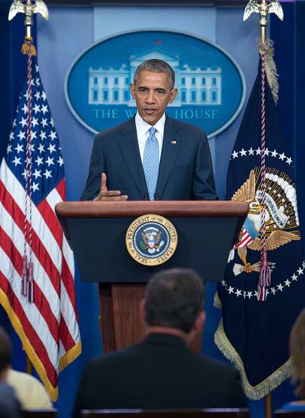 WASHINGTON, DC - JULY 17: President Obama speaks at a press conference in the Brady Press Briefing Room at the White House on July 17, 2016 in Washington, DC. Obama remarked on the shooting in Baton Rouge, Louisiana in which three officers were killed and three more wounded by armed suspects. (Photo by Leigh Vogel/Getty Images)