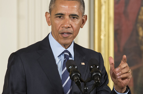 U.S. President Barack Obama speaks during a Medal of Honor ceremony for Vietnam War veteran Army Lieutenant Colonel Charles Kettles, not pictured, at the White House in Washington, D.C., U.S., on Monday, July 18, 2016. Kettles led helicopter flights carrying reinforcements to U.S. soldiers and is credited with helping to save 40 soldiers and four members of his unit. Photographer: Joshua Roberts/Bloomberg via Getty Images